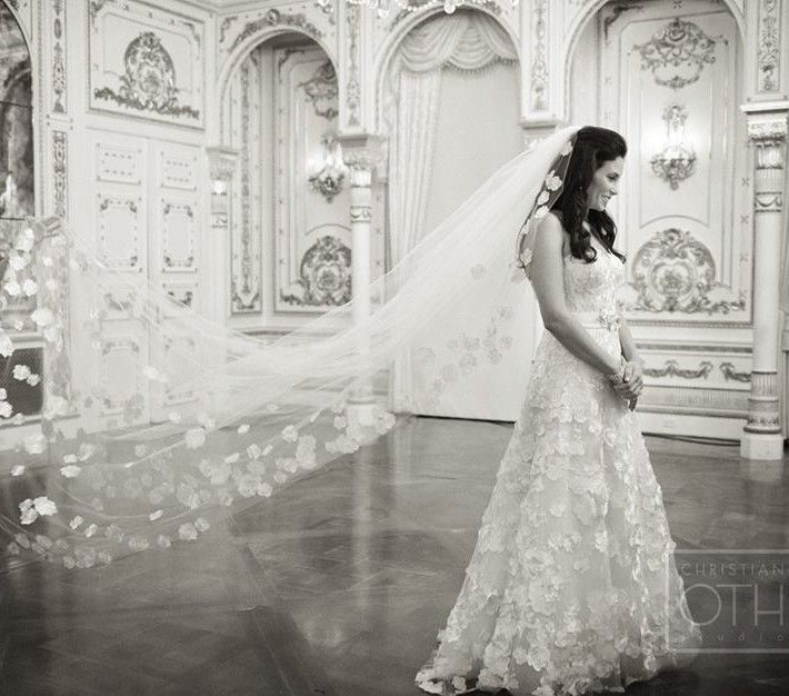 Beautiful bride in Berenice dress by Mira Zwillinger