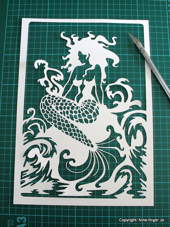 Papercutting Template A4  Fantasy Mermaid  DIY by NineFingerJo