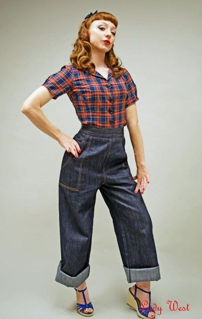 """I desperately want these wide-legged """"riveter"""" jeans."""
