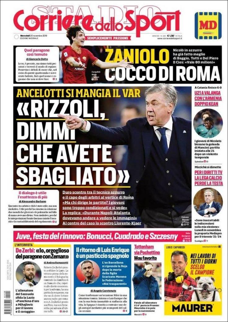 Corriere dello Sport (21 de noviembre de 2019) Portadas