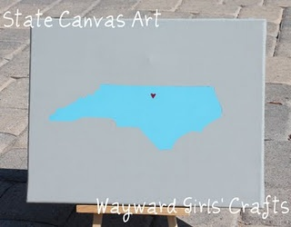 DIY state canvas art- I like the one with the chevron background though