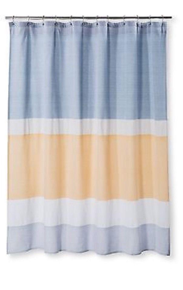 Target Threshold Pattern Stripe Shower Curtain Blue Yellow