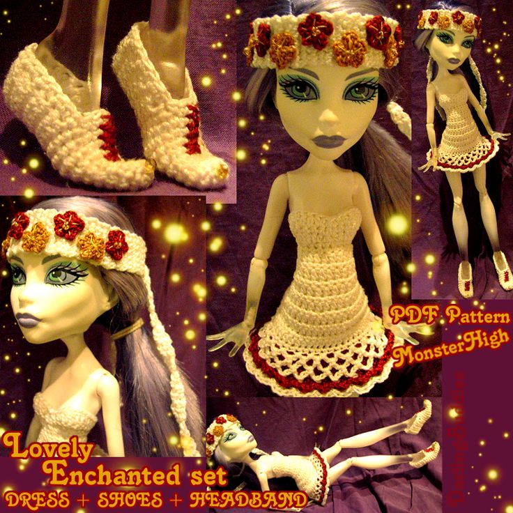 ♥ ♥ Lovely Enchanted set ♥ ♥ Crochet for Monster High  #MonsterHigh #dollsclothes #crochet #DIY #doll #dress #pattern #pdf #MH #whimsical #magic #fairytale #headband #shoes #Monster #High