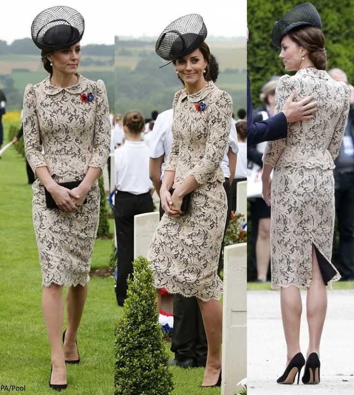 Duchess Kate: Kate in Lace Dress for Sombre Commemorative Events in France