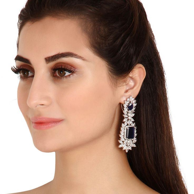 Zircon Earring 35243 #Kushals #Jewellery #Fashion #Indian #Jewellery #Earrings #Designer  #hangings  #modern #unique