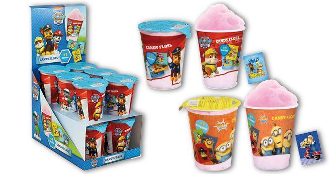 Algodón de Azúcar, de Hot Shots: Algodón de azúcar sabor fresa y con adhesivo de regalo en el interior de las licencias Minions y Patrulla Canina.