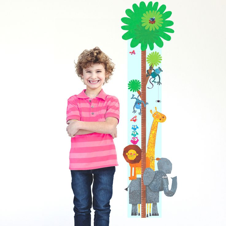 Personalised Jungle Height Chart  for boys or girls bedroom or playroom