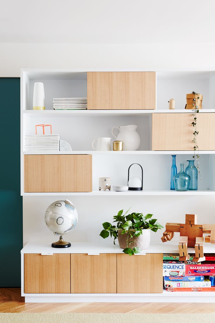 Modernist Built In Shelving Keep Clutter Contained In The Living Room Of  This Inner South East Melbourne Home. Photography: Annette Ou0027Brien