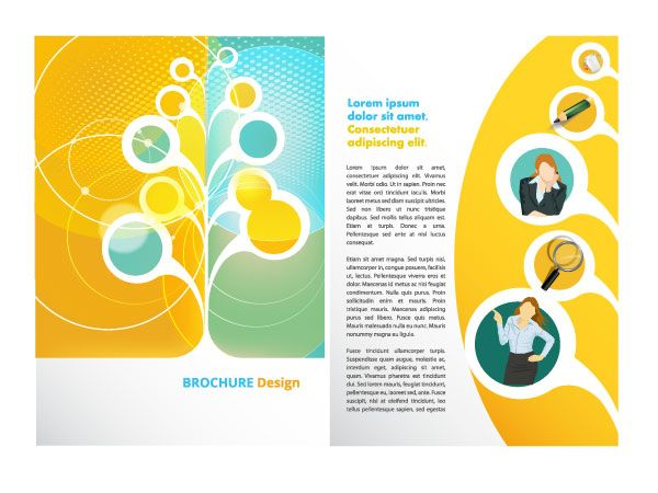 Circular free vector brochure template – Illustrator Brochure Template