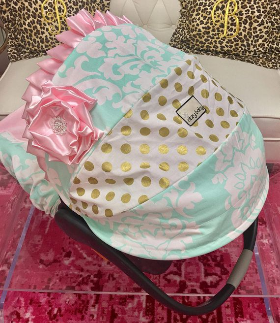 Pink and Gold Infant Car Seat Covers, Mint, Pink and Gold Baby Car Seat Covers, Gold Polka Dot Infant Car Seat Covers, Carseat Covers for Baby. Infant Car Seat Covers that are beautiful for your baby girl and her infant car seat. Beautiful EASY ON/OFF Slipcover Infant Car Seat