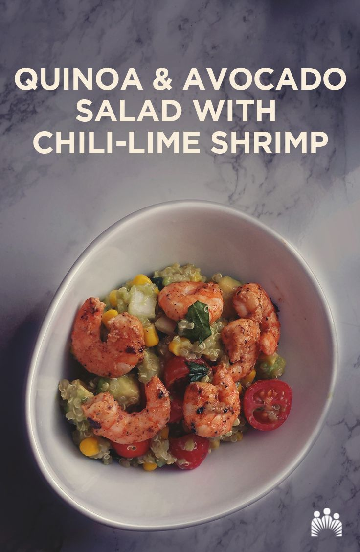Looking for an easy-to-make dish that's tasty and healthy? Check out this colorful recipe for warm quinoa and avocado salad with chili-lime shrimp.