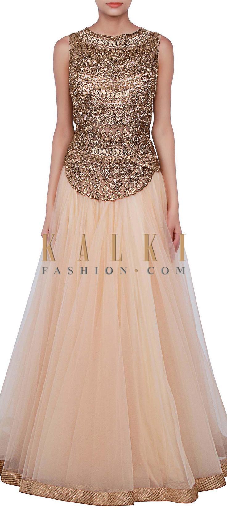 Buy Online from the link below. We ship worldwide (Free Shipping over US$100) http://www.kalkifashion.com/beige-gown-features-with-kundan-embellished-bodice-only-on-kalki.html