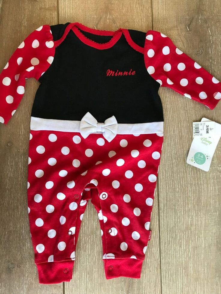 Disney Baby Minnie Mouse 1 One Piece Red Black White 3 6
