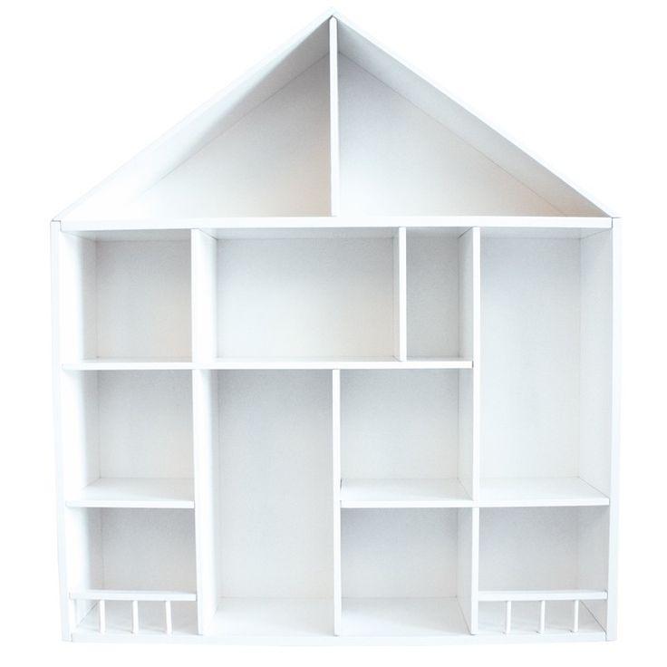 Wunderschöner weißer Setzkasten in Hausform, aus Holz, 58 x 52 x 12 cm, von Jabadabado
