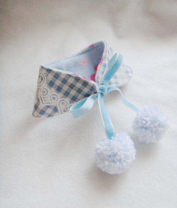 Small dog bandana Peter Pan collar Blue by CorgiKuriandFriends