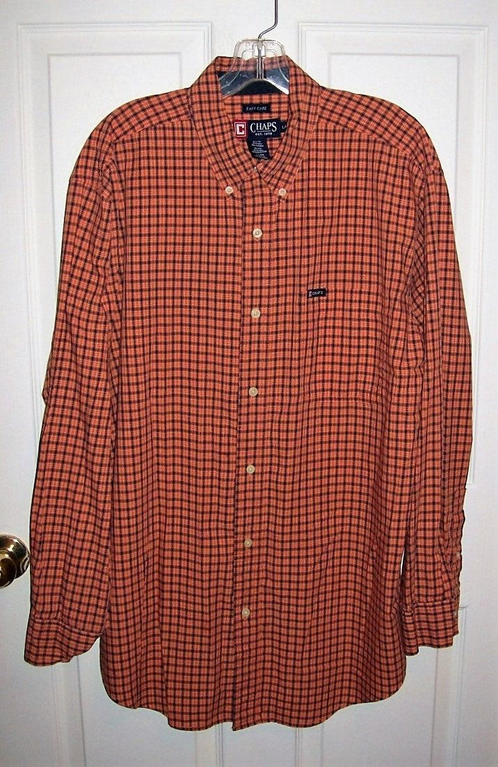 Vintage Men's Orange & Black Plaid Shirt by Chaps Large Only 5 USD by SusOriginals on Etsy