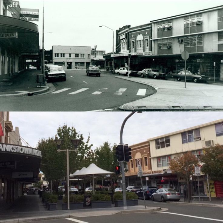 North Terrace looking towards the Railway Overpass, Bankstown 1977 > 2016. [Bankstown Library & Knowledge Centre > Rayy Bk. By Rayy Bk]