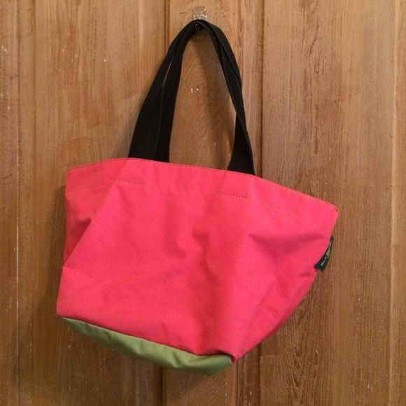 Herve Chapelier Paris square tote pink/green Used condition. Structurally sound but some light fraying at edges. Pen stains on the interior bottom. Exterior bottom is clean. See pics!  same or next day shipping!!  Herve Chapelier Paris Bags Totes