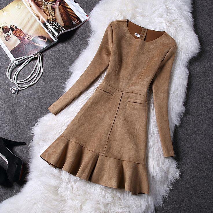 Aliexpress.com: Compre Europeu das mulheres outono inverno camurça de veludo de manga comprida feminina Trumpet sereia vestido com zipper para festa de confiança vestidos de diárias fornecedores em all is OK