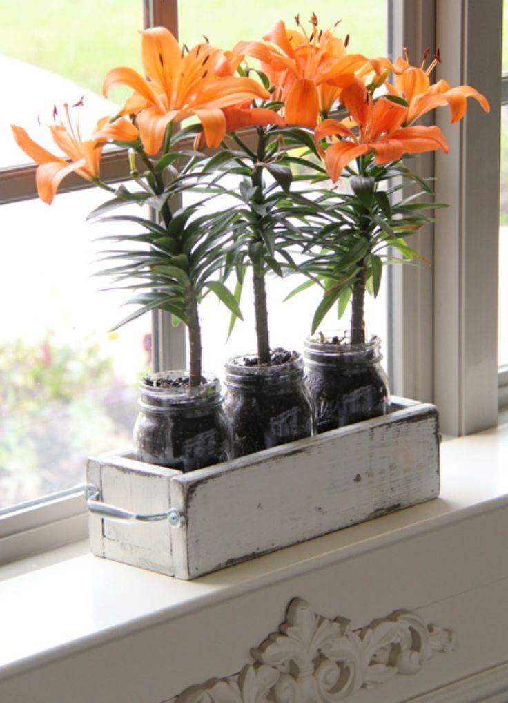 Mason Jar Planter Box
