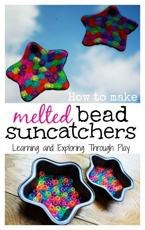 Making melted bead suncatchers. Indoor crafts for kids. Homemade gift ideas for kids. Learning and Exploring Through Play.