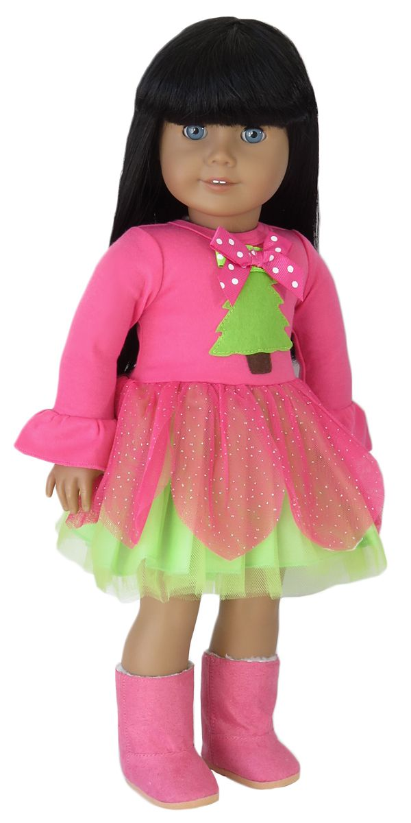 American Girl Doll Clothes. Silly Monkey - Oh, Tannenbaum Pink and Lime Dress, $15.00 (http://www.silly-monkey.com/products/oh-tannenbaum-pink-and-lime-dress.html)