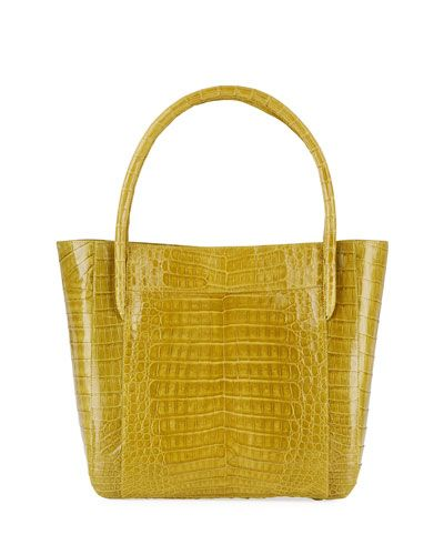 Crocodile Square Shopper Tote Bag, Green F6
