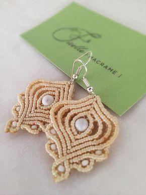 Macrame earrings DIY beige earrings micromacrame earrings