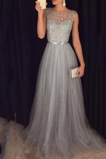 d5e2f0d898c7e 2019 Grey A-line Prom Dresses Beaded Long Tulle Luxury Evening Gowns ...
