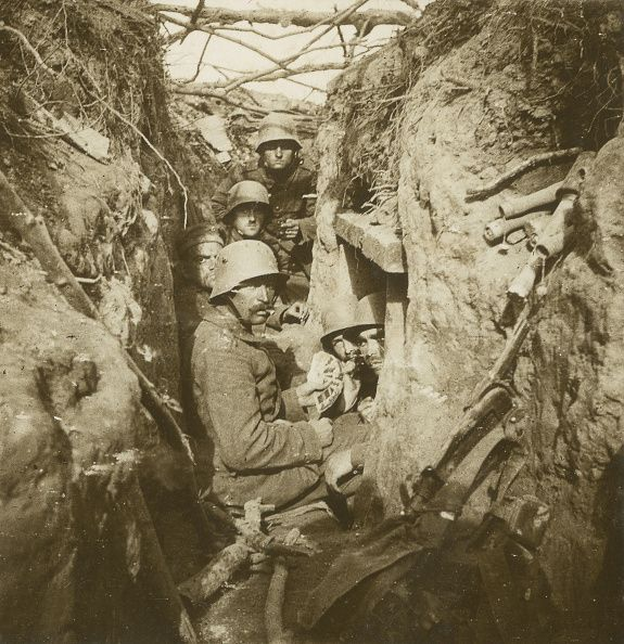World War I Game of cards in a German trench Ca 1916