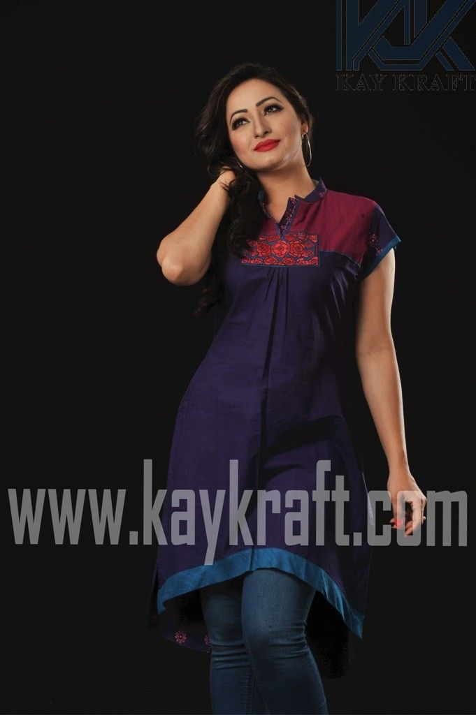 Color: Violet<br />Ornamentation: Screen Print with Machine Embroidery  <br /> [Tk990]