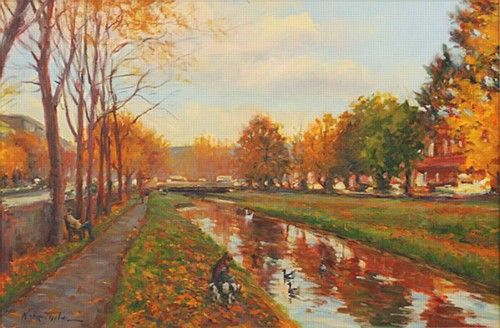 Norman Teeling 'Grand Canal, Autumn' #art #painting #canal #autumn #trees #NormanTeeling #DukeStreetGallery