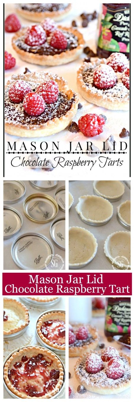 MASON JAR LID CHOCOLATE RASPBERRY TARTS-so easy to make and so impressive and so yummy-stonegableblog.com