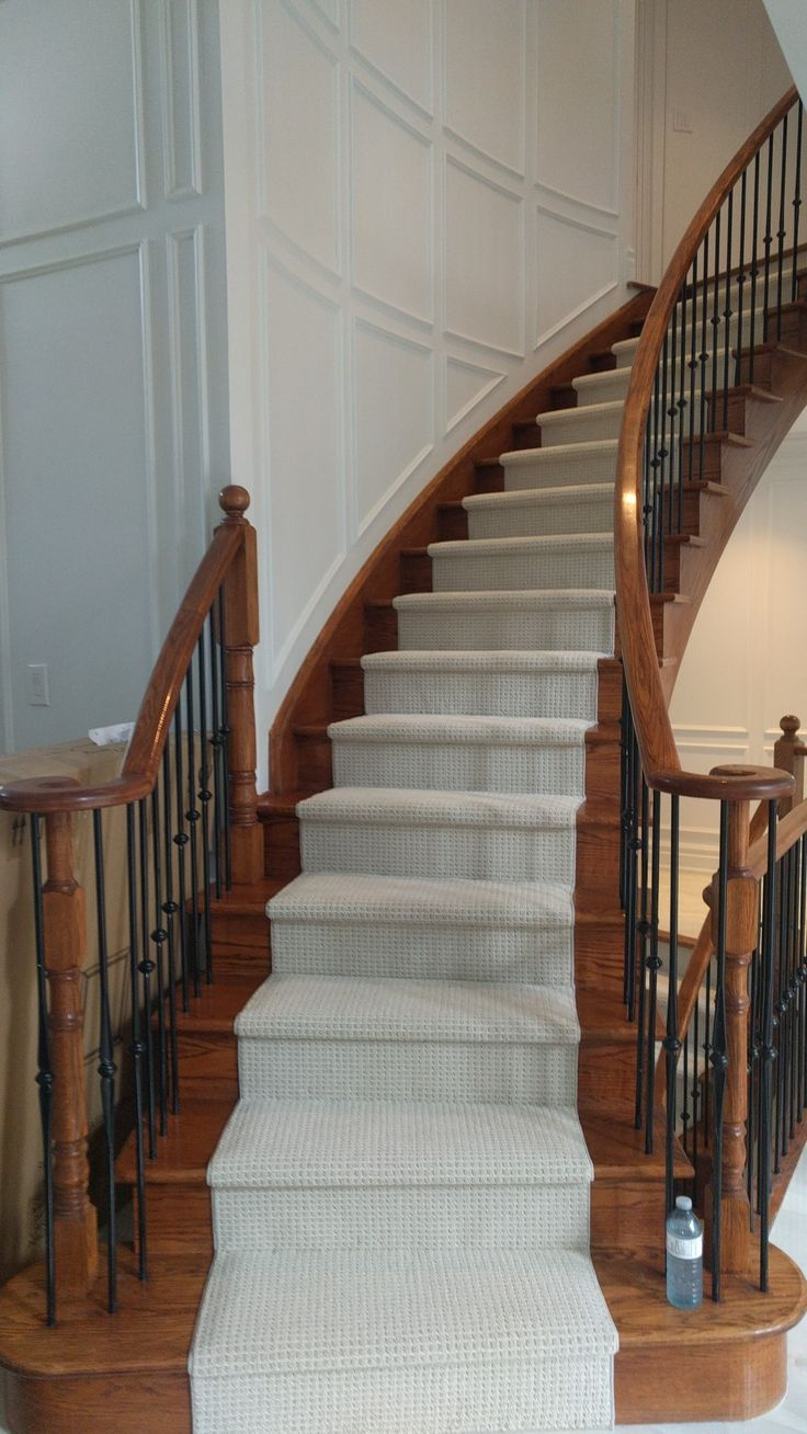 www.stairsfirst.ca Berber Carpet runner on curve stairs