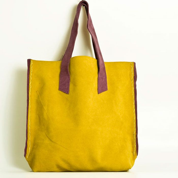 #Yellow_Bags. #Suede_bag with purple details Bags by Elena Vandelli