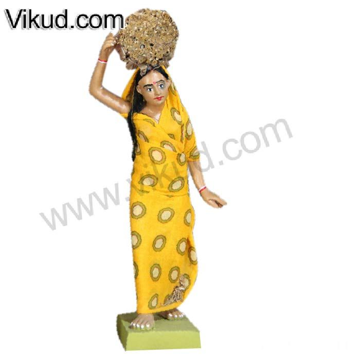 Terracotta-Rajasthani Village Lady Carrying Haystacks Doll- (8 Inches)