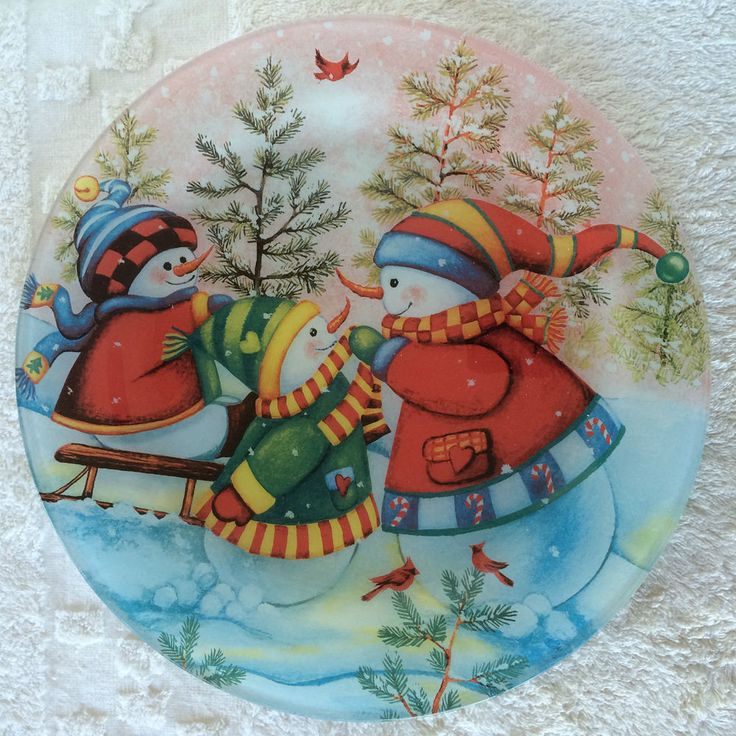 2 Piece Cake Set Plate With Server Multicolor Winter Scene Three Snowmen Playing #Nfinity