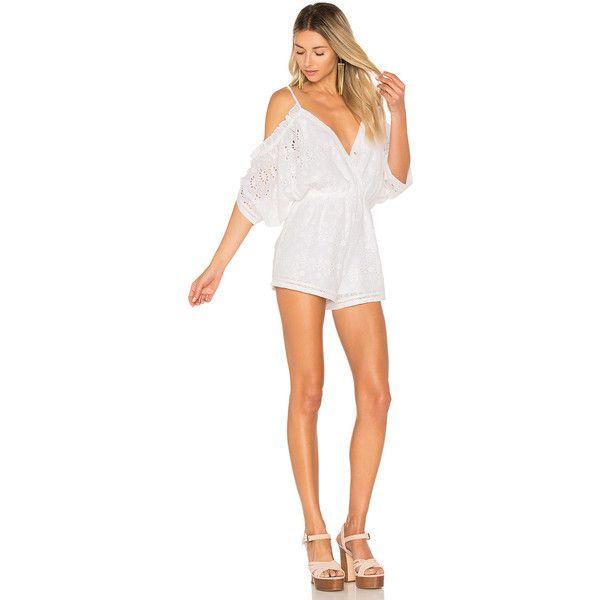 Lovers + Friends Malia Romper (200 CAD) ❤ liked on Polyvore featuring jumpsuits, rompers, rompers & jumpsuits, romper jumpsuit, sleeve jumpsuit, long-sleeve rompers, white jumpsuit and white jump suit