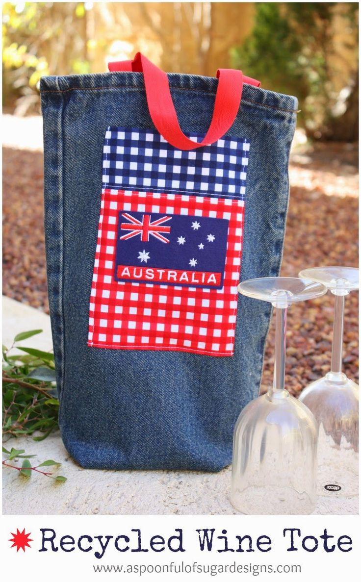 Recycled Denim Wine Tote {Australia Day Project} - A Spoonful of Sugar