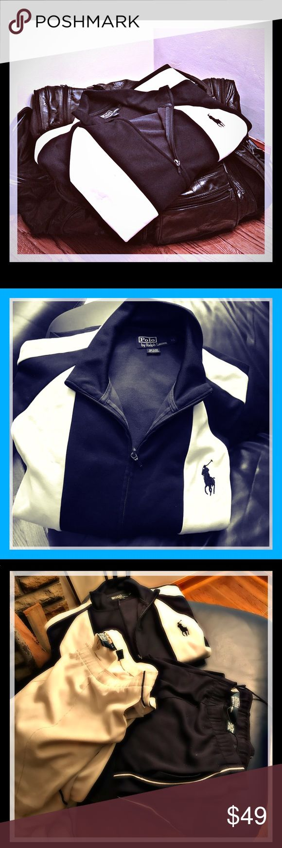 Ralph Lauren Jogging suit w 2 pair pants Famous Ralph Lauren polo jogging suit with two pair of pants jacket is extra large pants are XexL pants are adjustable this jogging outfit is an attention-getting her with both white and blue pants it makes it like having two separate jogging suits it has been a more however this merchandise is made by Ralph Lauren they last for years and years Polo by Ralph Lauren Other