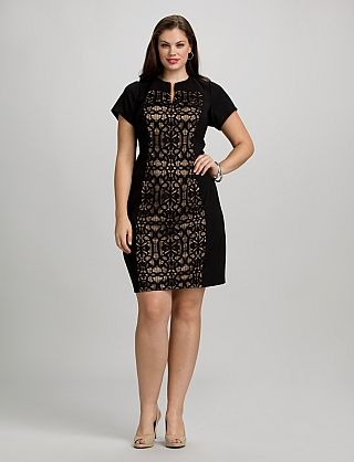 Plus Size Lace Panel Dress | Dressbarn