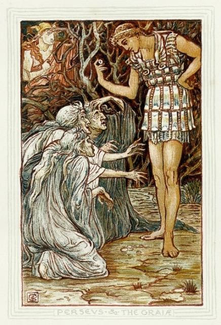 Full color image depicting Perseus questioning the Graeae Sisters.