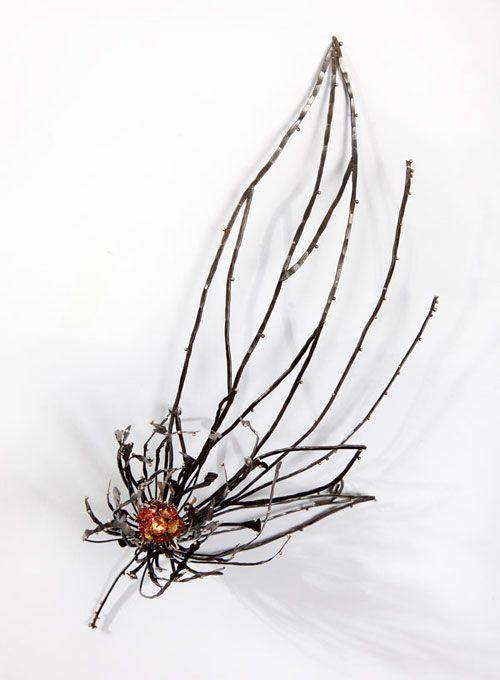 Night Blossom Brooch #4 | Steel, Sterling Silver, Enamel, 24K Keum Boo, Laser welding & Enameling