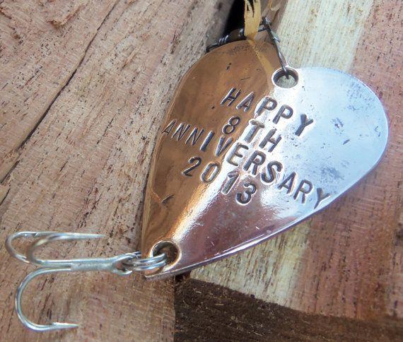 Eighth Anniversary - 8th Wedding Anniversary - Bronze Gift Him - Personalized Fishing Lure - Custom - Christmas Birthday Wedding - Husband
