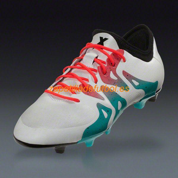 ... Mejor Zapatos de Soccer Adidas X 15.2 FG AG Para Terreno Firme Choque  Blanco Verde 5f7e2430b73be