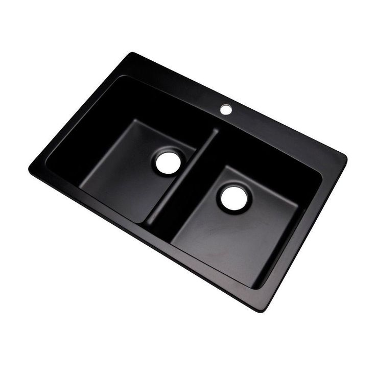 Mont Blanc Waterbrook Dual Mount Composite Granite 33x22x9 1-Hole Double Bowl Kitchen Sink in Black - 79199Q - The Home Depot