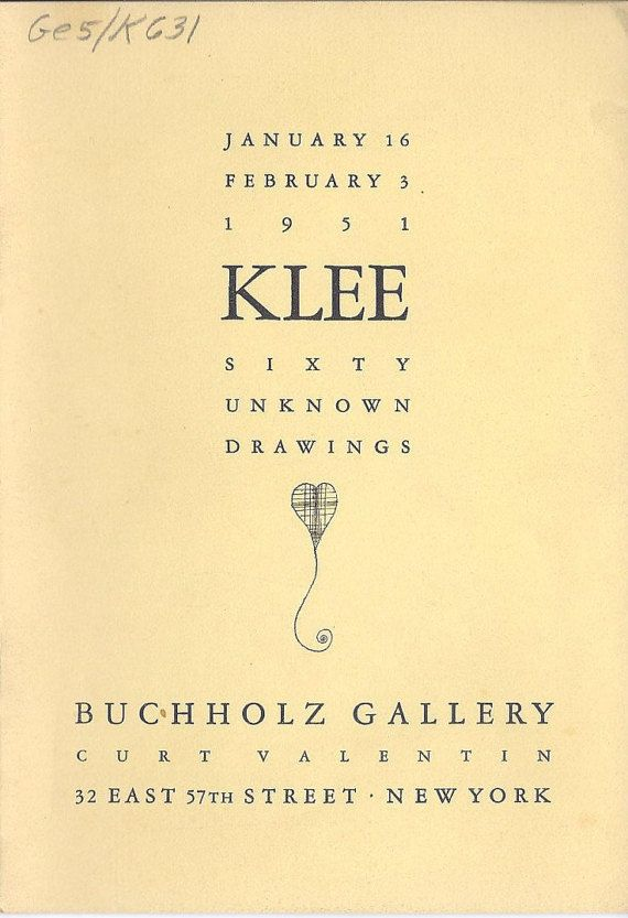 Klee Sixty unknown Drawings Buchholz Gallery 1951 Curt Valentin Gallery Abstract Expressionist Artist MCM Mid Century Modern Art