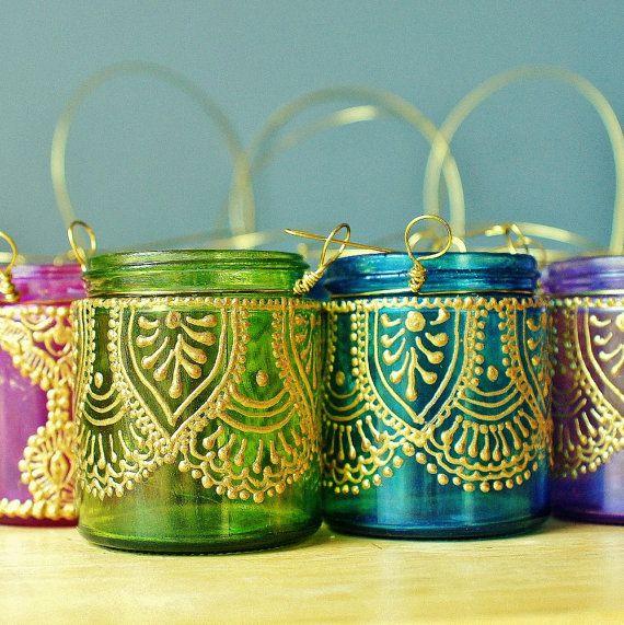 Set of Four Moroccan Lantern Votive Holders In Fuschia by LITdecor, $45.00