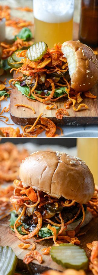 BBQ Cheeseburgers with Homemade Sweet Potato Curly Fries I howsweeteats.com