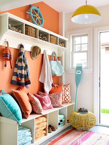 Entryway Organization and Decor - I love the orange